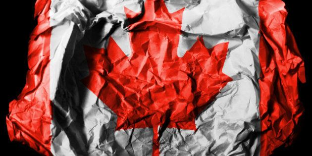 canada. canadian flag  painted...