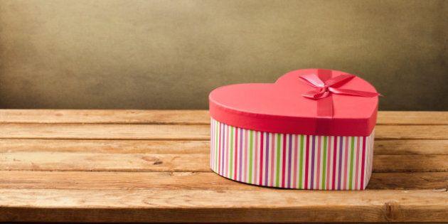 heart shape gift box on wooden...