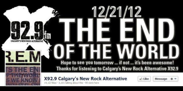 Calgary Radio Station X92.9 Plays 'It's The End Of The World' By R.E.M. All Day To Mark Mayan