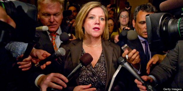 NDP Leader Andrea Horwath heads out from her meeting with Premier Dalton McGuinty today in his office for last-ditch budget deal. April 23, 2012 (Photo by David Cooper/Toronto Star via Getty Images)