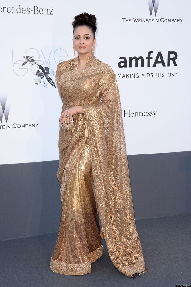 Aishwarya Rai's Cannes 2013 Gold Gown Stuns At amfAR Event