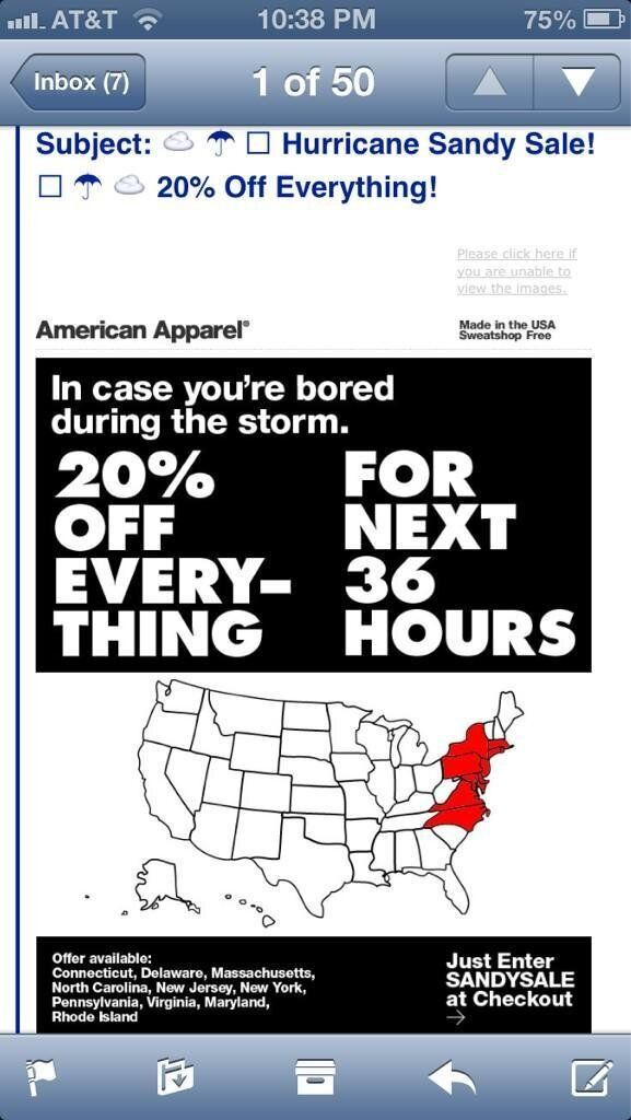 Hurricane Sandy: American Apparel Offers Ill-Timed