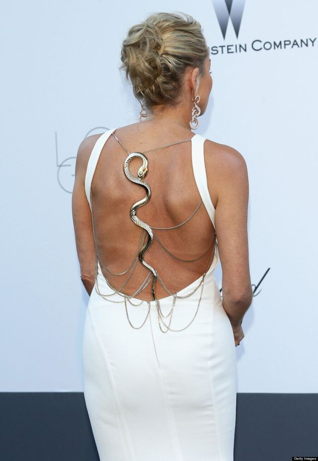 Sharon Stone's Cannes 2013 Dress Features Gold Snake