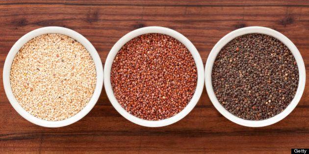 Three bowls containing quinoa