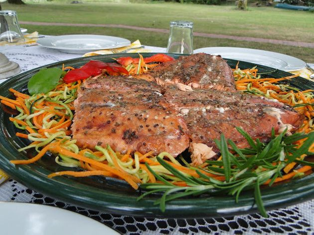 Balsamic and Honey Glazed Salmon with Vegetable