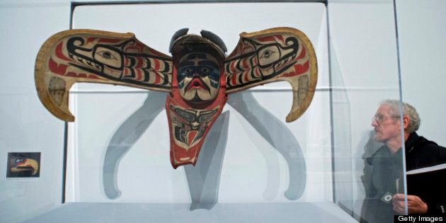 A Kwakwaka?wakw Thunderbird Transformation Mask, from Vancouver Island, is on display at the 'Life, Death, and Transformation in the Americas' exhibit at the Brooklyn Museum February 28, 2013 in New York. Themes of life, death, fertility, and regeneration are explored through pre-Columbian and historical artworks, including many pieces that are rarely on display. AFP PHOTO/DON EMMERT        (Photo credit should read DON EMMERT/AFP/Getty Images)