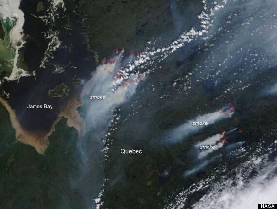 James Bay Fires, As Seen From Space