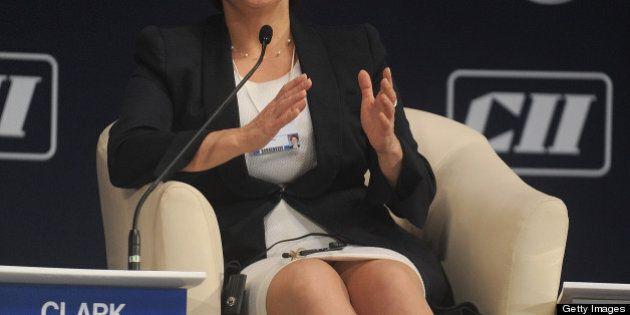 Christy Clark, Premier of British Columbia, Canada, speaks during the World Economic Forum - India Economic...