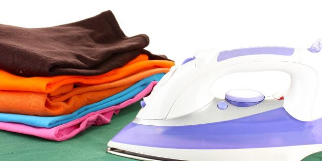 flat electric iron and clothes...