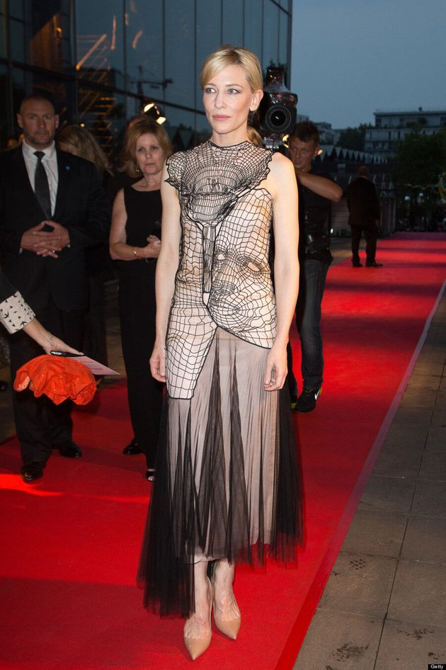 Cate Blanchett 'Caught' In Spider Web Dress At 'Blue Jasmine' Premiere