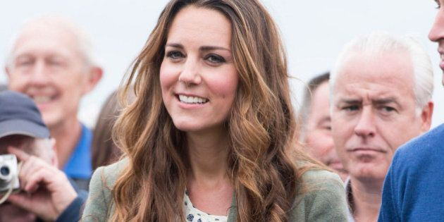 HOLYHEAD, WALES - AUGUST 30: Catherine, Duchess of Cambridge starts The Ring O'Fire Anglesey Coastal...