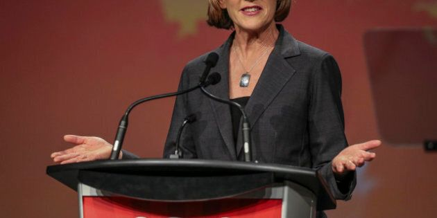TORONTO, ON - APRIL 6: Joyce Murray addresses  the crowd at the federal Liberal showcase  at the Metro Toronto Convention Centre.        (David Cooper/Toronto Star via Getty Images)