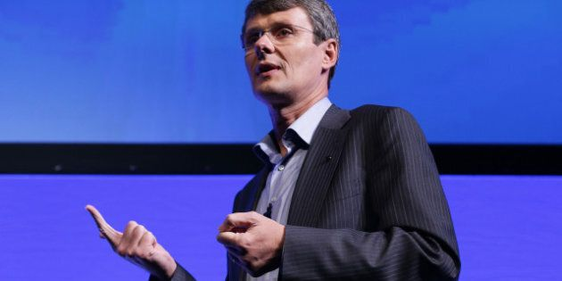 Thorsten Heins, chief executive officer of BlackBerry, gestures as he speaks during the launch of the...