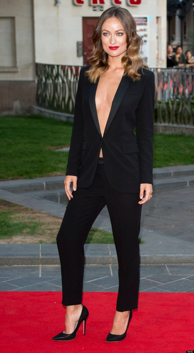 Olivia Wilde Goes Braless In Racy Black Suit For 'Rush'