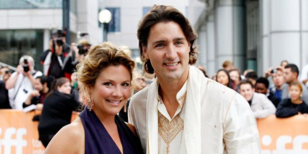 TORONTO, ON - SEPTEMBER 09: Sophie Gregoire and Justin Trudeau arrive at the 'Midnight's Children' Premiere...