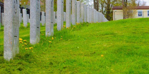 row of grave stones on