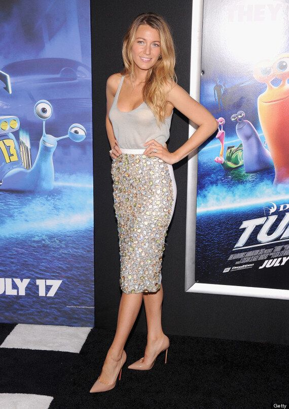 Blake Lively Stylish At 'Turbo' Premiere In Sheer Top, Skirt And Nude Heels