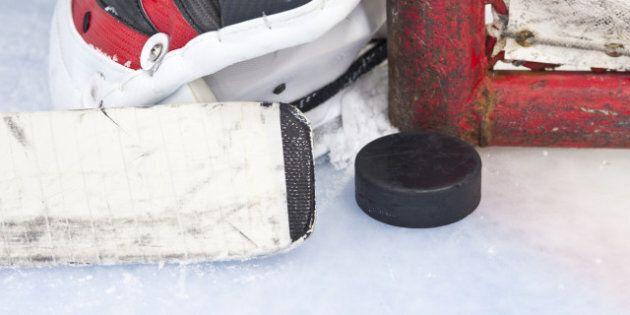 close up on hockey puck