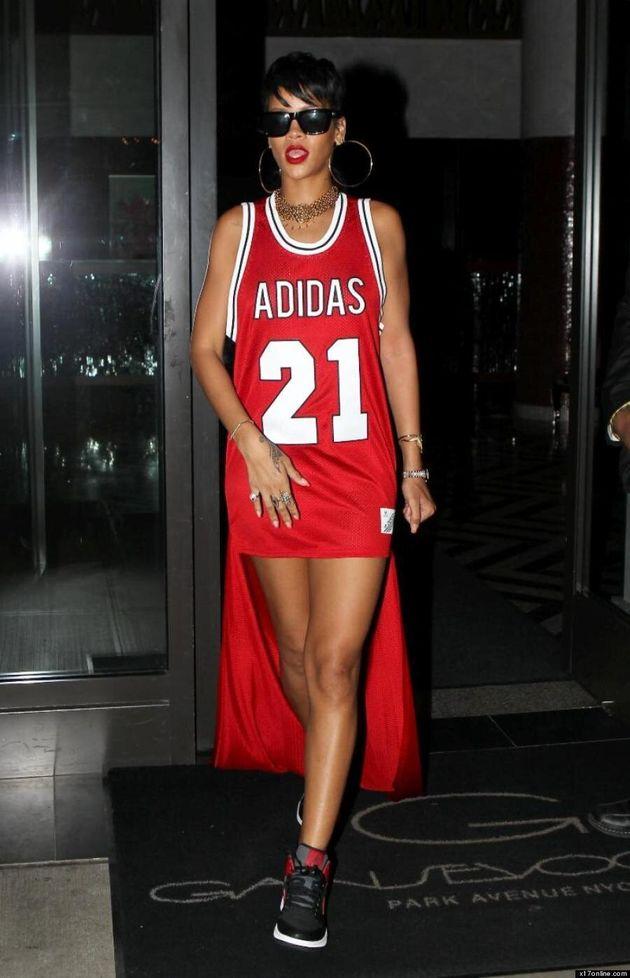 Rihanna Gets Sporty In Mullett Jersey