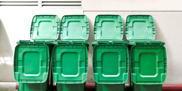 large green trash cans garbage