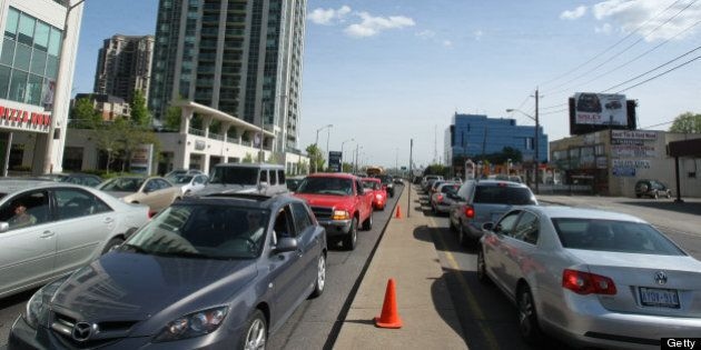 TORONTO, ON - MAY 15: Traffic congestion on Yonge st south of Sheppard .. where Avon dale east off of...