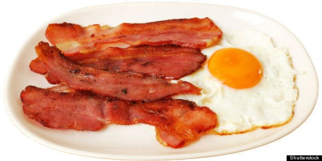 fried egg with bacon on