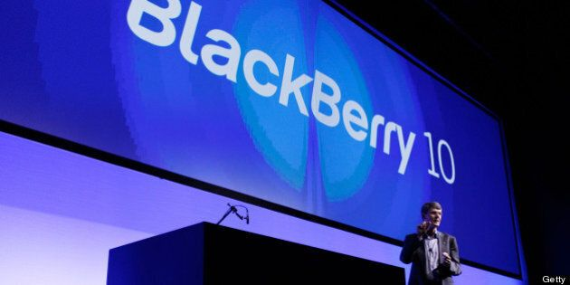 Thorsten Heins, chief executive officer of BlackBerry, speaks during the launch of the BlackBerry Z10...