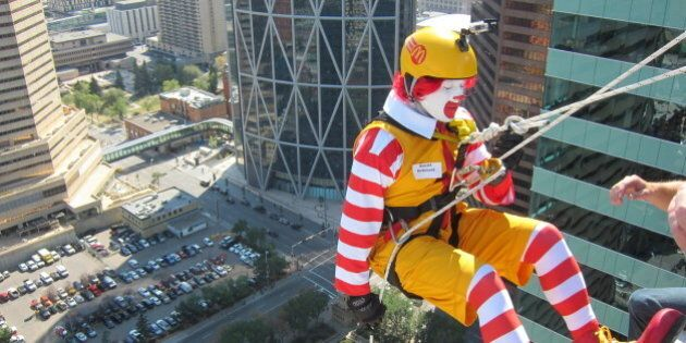Easter Seals Drop Zone Calgary: Ronald McDonald, Married Gorillas Rappel Off Tower