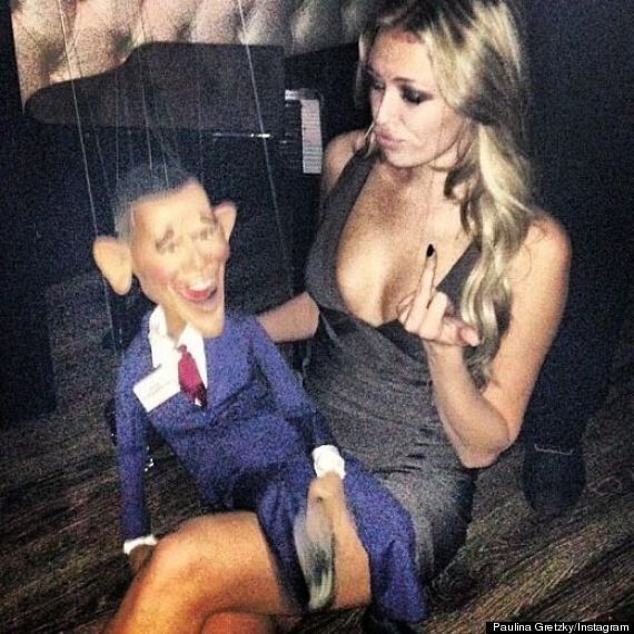 Paulina Gretzky's Obama Instagram Photo Shows Her Flashing Middle Finger To Puppet Of