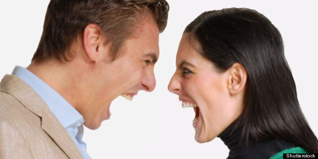 anger young couple fighting and