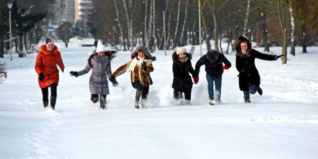 girls winter fun in the