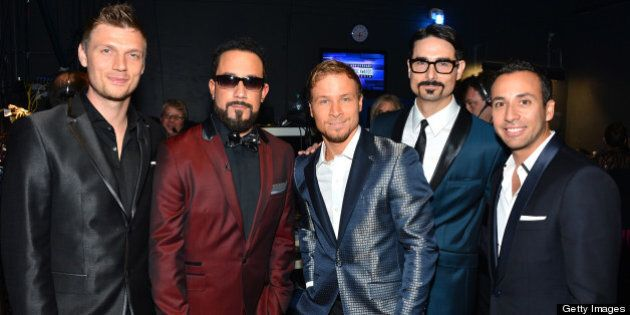 LOS ANGELES, CA - NOVEMBER 18: (L-R) Singers Nick Carter, A.J. McLean, Brian Littrell, Kevin Richardson,...