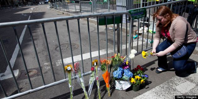 BOSTON - APRIL 16: Boston Marathon Explosion aftermath. Marion Pritchard of New Haven, Conn., a student...