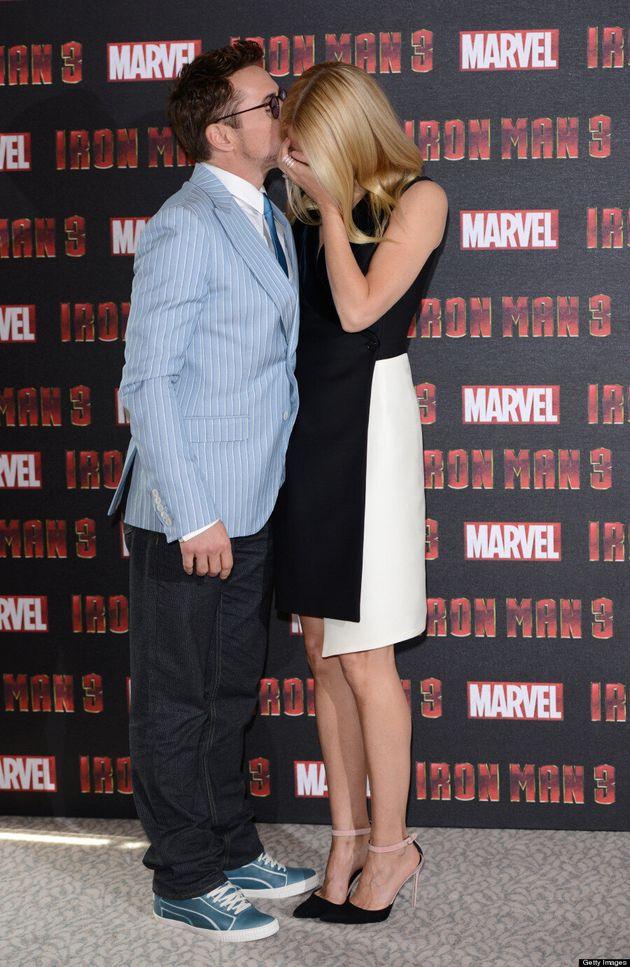Gwyneth Paltrow 'Iron Man 3' Premiere: Kissed By Robert Downey Jr., Wears Tuxedo Dress