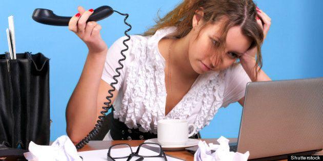 overworked businesswoman...