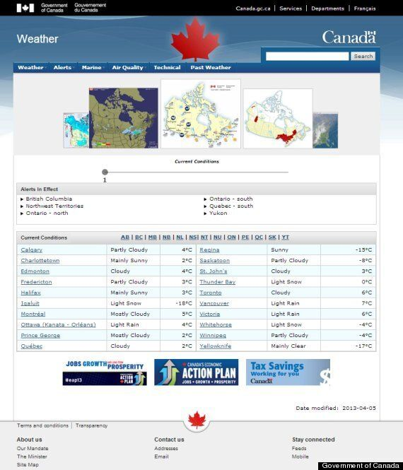 Environment Canada Website Makeover: Conservative 'Economic Action Plan' Logos