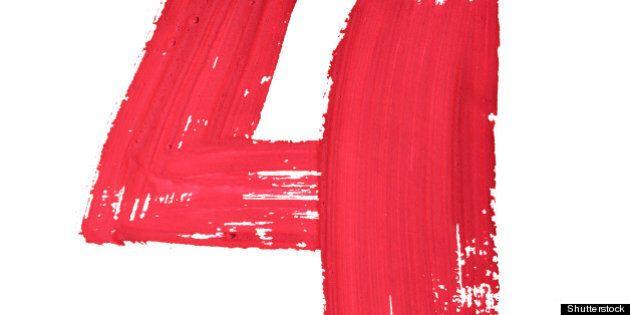 4   red handwritten digits over ...