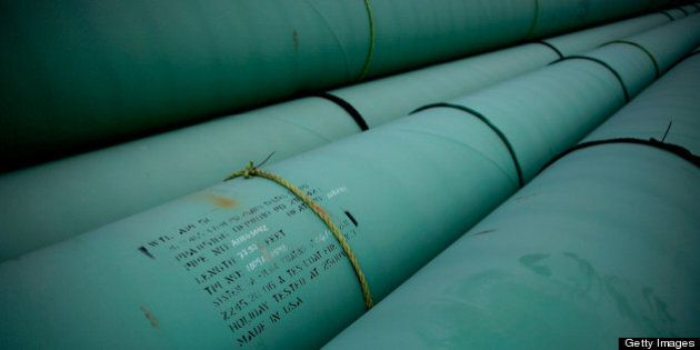 CUSHING, OK - MARCH 22: Pipe is stacked at the southern site of the Keystone XL pipeline on March 22,...