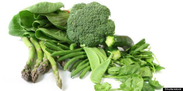green vegetables on white...