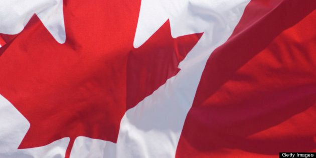 Canadian Flag, hanging from Building, Full