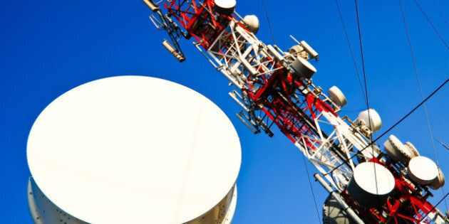 big red and white antenna with...