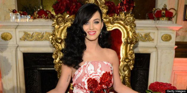 NEW YORK, NY - MAY 02: (EXCLUSIVE ACCESS) Katy Perry attends her fragrance sneak preview at the James...