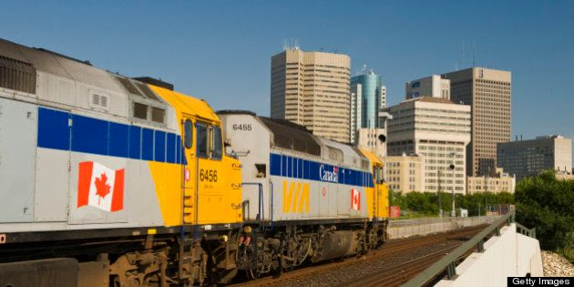 Via Rail passes through downtown Winnipeg, Manitoba,