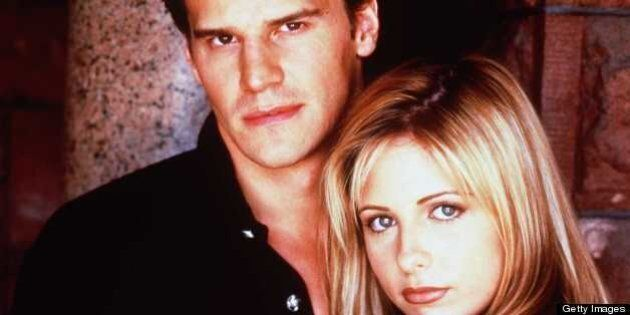 Sarah Michelle Gellar (r) as Buffy and David Boreanaz as Angel in 'Buffy The Vampire Slayer.' Season