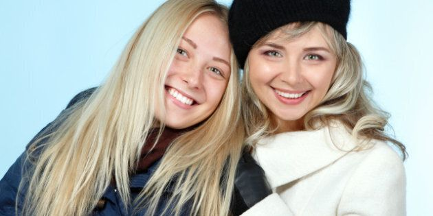 mother and teen daughter winter