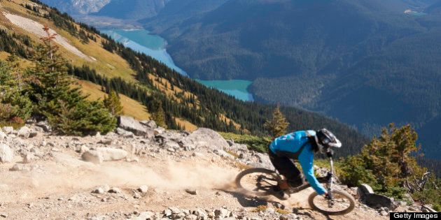 The 'Top of the World' trail is a new high alpine mountain bike trail on Whistler Mountain, site of the...