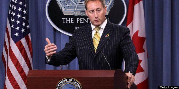 ARLINGTON, VA - SEPTEMBER 28: Canadian Minister of National Defense Peter MacKay speaks as he participates...