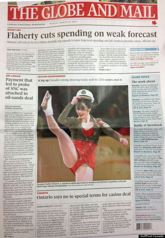 Kaetlyn Osmond's Globe And Mail Front Page Photo Draws