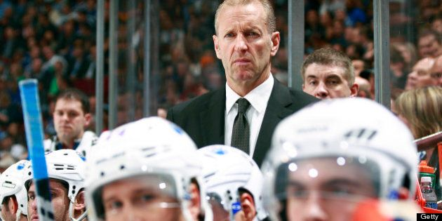 VANCOUVER, CANADA - APRIL 04: Head coach Ralph Krueger of the Edmonton Oilers looks on from the bench...
