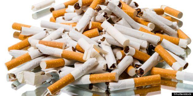 pile of broken cigarettes. stop
